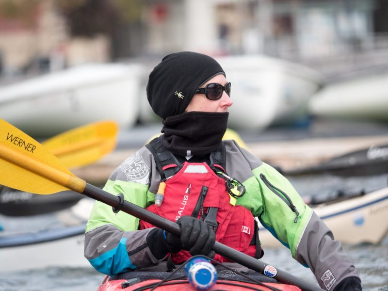 Susannah has the right attire for the day. Drysuit. PFD. Gloves. Beanie+Neck Warmer. In her hatch, she as a storm cag for anyone that goes into the water.