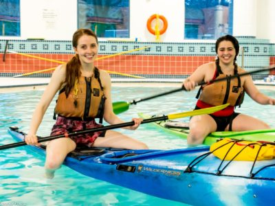 Students in a pool rescue course at Harbourfront Canoe & Kayak Center