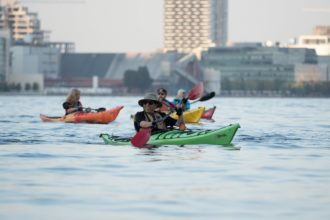 People out on a social kayak paddle in Toronto at Harbourfront Canoe & Kayak Center