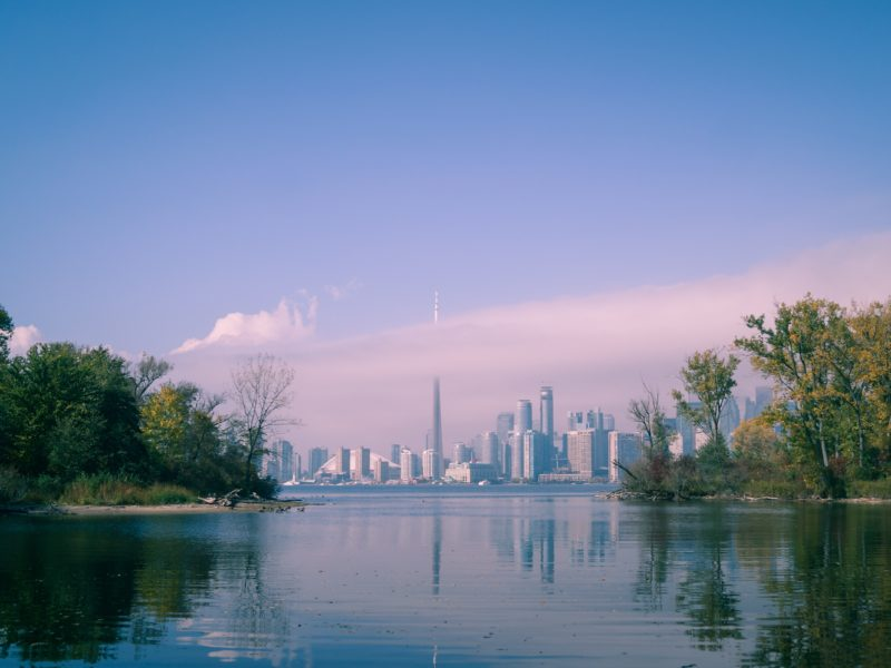 A scenic view of Toronto from the islands.